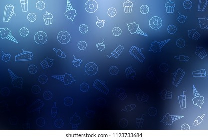 Dark BLUE vector cover with set of confections. Confections on blurred abstract background with colorful gradient. Pattern for menu of cafes and restaurants.