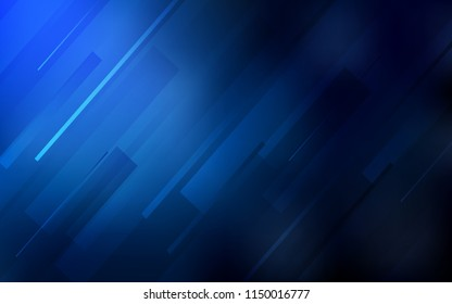 Dark BLUE vector cover with stright stripes. Glitter abstract illustration with colored sticks. Pattern for your busines websites.