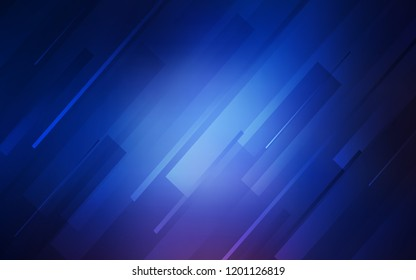 Dark BLUE vector cover with stright stripes. Blurred decorative design in simple style with lines. Smart design for your business advert.