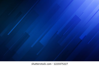 Dark BLUE vector cover with stright stripes. Decorative shining illustration with lines on abstract template. Pattern for ads, posters, banners.