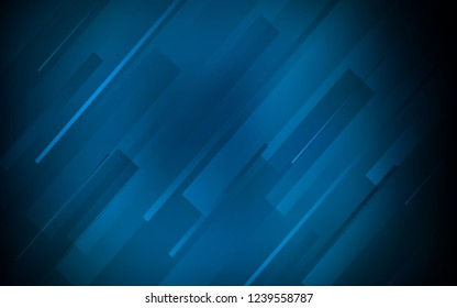 Dark BLUE vector cover with stright stripes. Blurred decorative design in simple style with lines. Pattern for ads, posters, banners.