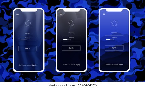 Dark BLUE vector design ui kit with telephone. Glitter illustration with shapes of iphone X with gradient Beautiful layout for iPhones and apps.