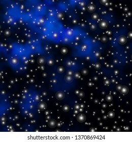Dark BLUE vector layout with bright stars. Blur decorative design in simple style with stars. Pattern for new year ad, booklets.