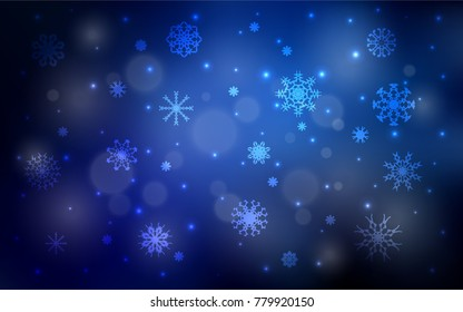 Dark BLUE vector layout with bright snowflakes. Shining colored illustration with snow in christmas style. New year design for your business advert.