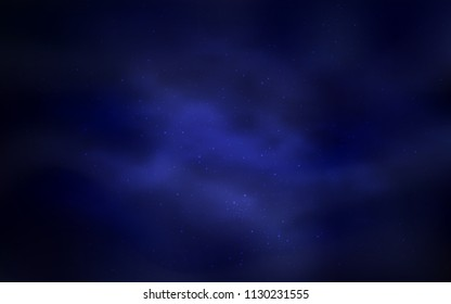 Dark BLUE vector layout with cosmic stars. Shining illustration with sky stars on abstract template. Best design for your ad, poster, banner.