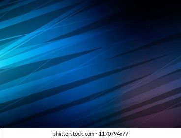 Dark BLUE vector layout with flat lines. Decorative shining illustration with lines on abstract template. The pattern can be used as ads, poster, banner for commercial.