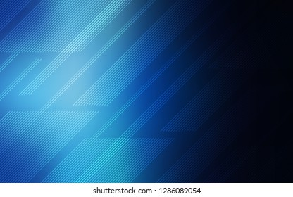 Dark BLUE vector layout with flat lines. Decorative shining illustration with lines on abstract template. Best design for your ad, poster, banner.