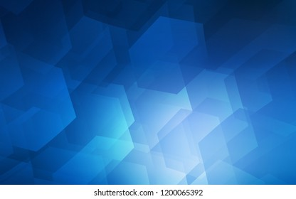 Dark BLUE vector layout with hexagonal shapes. Illustration of colored hexagons on white surface. Beautiful design for your business advert.