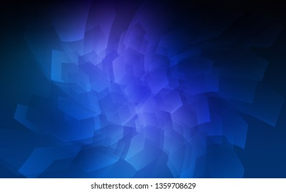 Dark BLUE vector layout with hexagonal shapes. Illustration of colored hexagons on white surface. Pattern can for your ad, booklets.