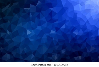 DARK BLUE vector Low poly crystal background. Polygon design pattern. Low poly illustration, low polygon background.