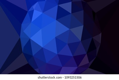 Dark BLUE vector low poly texture with a diamond. A sample with polygonal shapes. Pattern for a brand book's backdrop.