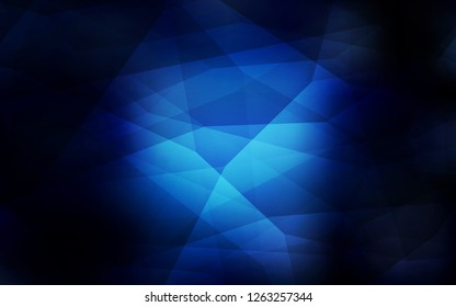 Dark BLUE vector low poly layout. Glitter abstract illustration with an elegant triangles. A completely new design for your leaflet.