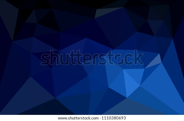 Dark BLUE vector low poly layout with a heart in a centre. Illustration in abstract style with triangles. Template for cell phone's backgrounds.