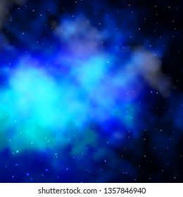 Dark BLUE vector pattern with abstract stars. Shining colorful illustration with small and big stars. Theme for cell phones.