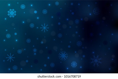 Dark BLUE vector pattern with christmas snowflakes. Glitter abstract illustration with crystals of ice. The pattern can be used for new year ad, booklets.