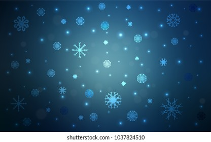 Dark BLUE vector pattern with christmas snowflakes. Glitter abstract illustration with crystals of ice. New year design for your business advert.