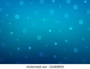 Dark BLUE vector pattern with christmas snowflakes. Snow on blurred abstract background with gradient. The pattern can be used for new year ad, booklets.