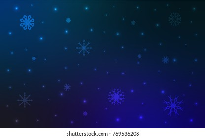 Dark BLUE vector pattern with christmas snowflakes. Snow on blurred abstract background with gradient. New year design for your business advert.