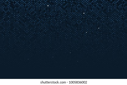 Dark BLUE vector pattern with colored spheres. Geometric sample of repeating circles on white background in halftone style.