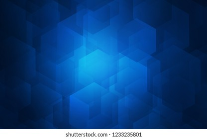 Dark BLUE vector pattern with colorful hexagons. White background with colorful hexagons. Pattern for ads, leaflets.