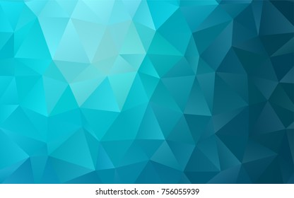 Dark BLUE vector polygon abstract template. Modern geometrical abstract illustration with gradient. Brand-new style for your business design.