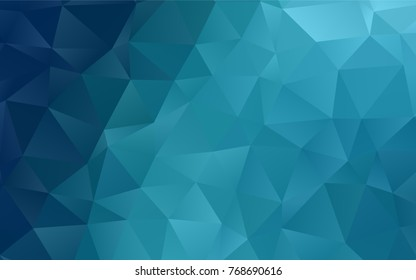 Dark BLUE vector polygonal background. Geometric illustration in Origami style with gradient.  The textured pattern can be used for background.