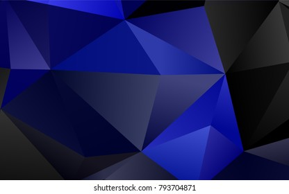 Dark BLUE vector polygonal background. An elegant bright illustration with gradient. Brand-new style for your business design.