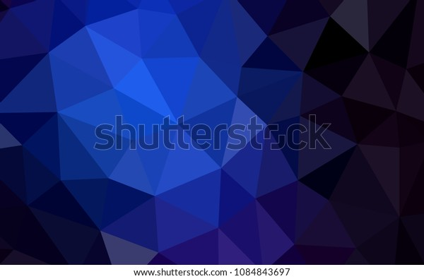 Dark BLUE vector polygonal background. Polygonal abstract illustration with gradient. Triangular pattern for your design.