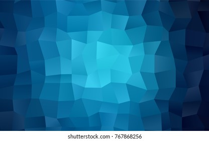 Dark BLUE vector polygonal illustration, which consist of rectangles. Rectangular pattern for your business design. Geometric background in Origami style with gradient.