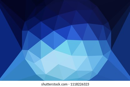 Dark BLUE vector polygonal pattern with a diamond. A sample with polygonal shapes. Template for cell phone's backgrounds.