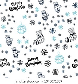 Dark BLUE vector seamless background with xmas snowflakes, balls, socks, mittens. Modern geometric abstract illustration. Pattern for trendy fabric, wallpapers.