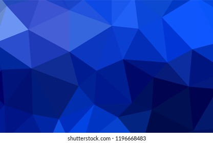 Dark BLUE vector shining triangular cover. Colorful illustration in polygonal style with gradient. Best triangular design for your business.