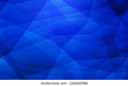 Dark BLUE vector shining triangular backdrop. Geometric illustration in Origami style with gradient. Brand new style for your business design.