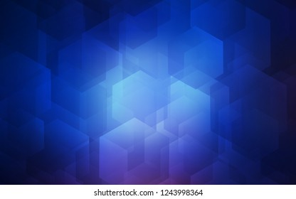 Dark BLUE vector template in hexagonal style. Glitter abstract illustration in hexagonal style. Beautiful design for your business advert.
