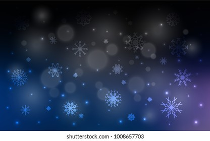 Dark BLUE vector template with ice snowflakes. Shining colored illustration with snow in christmas style. The pattern can be used for new year leaflets.