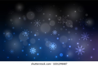 Dark BLUE vector template with ice snowflakes. Blurred decorative design in xmas style with snow. The pattern can be used for new year ad, booklets.