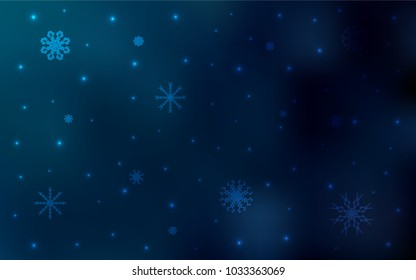 Dark BLUE vector template with ice snowflakes. Decorative shining illustration with snow on abstract template. The template can be used as a new year background.