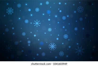 Dark BLUE vector template with ice snowflakes. Modern geometrical abstract illustration with crystals of ice. New year design for your ad, poster, banner.