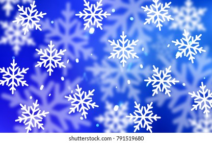 Dark BLUE vector template with ice snowflakes. Shining colored illustration with snow in christmas style. The pattern can be used for new year ad, booklets.
