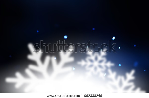 Dark BLUE vector template with ice snowflakes. Glitter abstract illustration with crystals of ice. The pattern can be used for year new  websites.