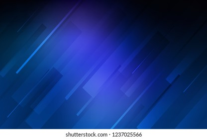 Dark BLUE vector template with repeated sticks. Lines on blurred abstract background with gradient. Pattern for ads, posters, banners.