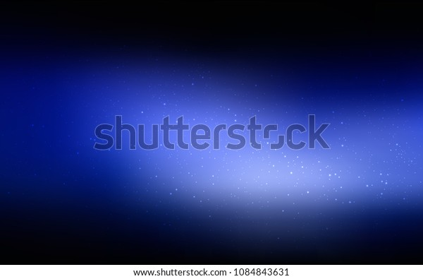 Dark BLUE vector template with space stars. Shining colored illustration with bright astronomical stars. Pattern for futuristic ad, booklets.