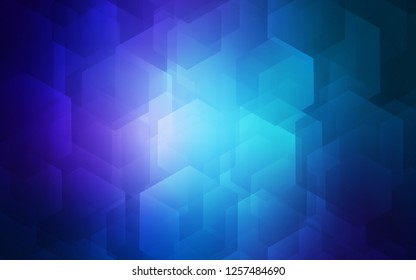 Dark BLUE vector texture with colorful hexagons. Illustration of colored hexagons on white surface. Pattern can be used for landing pages.