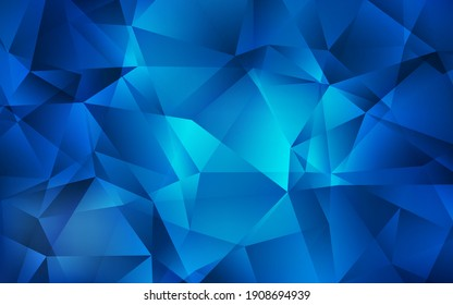 Dark BLUE vector triangle mosaic template. Creative illustration in halftone style with triangles. New template for your brand book.