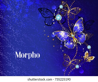 Dark, blue velvety background, decorated with sapphire jewelry butterfly.