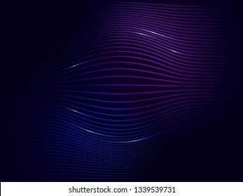 Dark blue violet neon abstract digital wave vector background with sparkles of electric current
