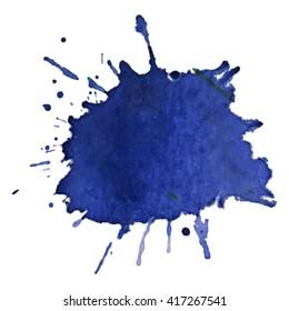 Dark blue watercolor spot. Vector illustration. Grunge element for design