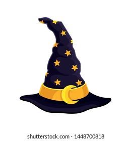 Dark blue wizard hat. Vector illustration on white background.