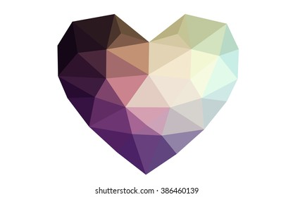 Dark blue, yellow heart isolated on white background. Geometric rumpled triangular low poly origami style gradient graphic illustration. Vector polygonal design for your business.
