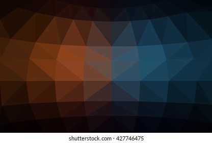 Dark blue, yellow polygonal illustration, which consist of triangles. Triangular design for your business. Geometric background in Origami style with gradient.